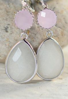 Pale Pink and White Stone Bridesmaid Earrings