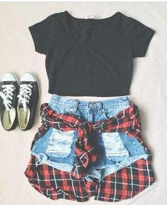 Really cute summer outfit.  Chucks and plaid.