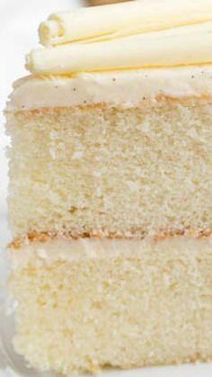 White Birthday Cake ~ An exquisite, moist and delicious white cake with vanilla bean buttercream... This sweet, tight crumb cake will rival any bakery cake!
