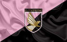 Download wallpapers US Palermo, 4k, Serie B, football, silk texture, emblem, silk flag, Palermo FC logo, Italian football club, Palermo, Italy
