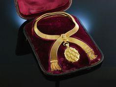 Antique victorian necklace! Biedermeier Collier Gold 585 England um 1865 Originaletui, Antikschmuck bei Die Halsbandaffaire