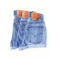 Vintage Levis High Waisted Denim Shorts All Sizes ($30) ❤ liked on Polyvore featuring shorts, light purple, women's clothing, ripped denim shorts, high-waisted shorts, distressed jean shorts, destroyed jean shorts and high waisted shorts