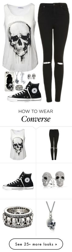 """""""Skull outfit"""" by genesis6182 on Polyvore featuring Topshop, Converse, Bling Jewelry, Black Pearl, Casetify and King Baby Studio"""