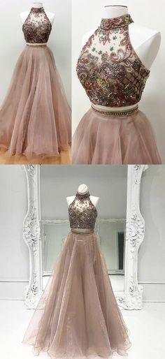 2018 two piece long prom dress, beaded champagne long prom dress, formal evening dress party dress