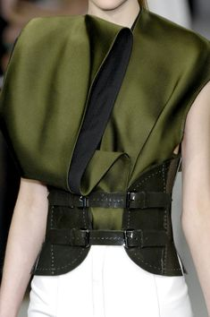 Sumptuous Folds - elegant olive green dress with layered  folded construction + wide green leather belt; fashion details