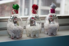 Snow Globes from water bottles with photos! Work on fine motor control with pouring and stuffing