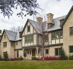 Tudor style home with stucco