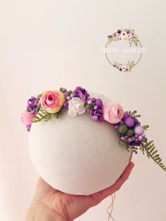 Tieback bébé rose fruitée violet nature ,photoprop : Mode Bébé par fleur-margot-accessoires