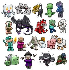These would be perfect nursery decorations :) Lil' Minecraft Monsters REBOOT by *ghostfire on deviantART Minecraft Mobs, Minecraft Anime, Minecraft Kunst, Minecraft Drawings, Minecraft Pictures, Minecraft Characters, Minecraft Fan Art, Minecraft Clipart, Minecraft Seed