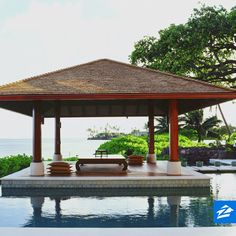 Tropical Swimming Pool - Found on Zillow Digs. What do you think? Retractable Pergola, Tropical Pool, Pool Houses, Pool Designs, Outdoor Rooms, Water Features, Lush, Gazebo, Bali