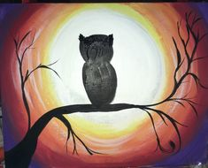 Learn How to Paint an Owl silhouette moon with acrylic paint on canvas. FREE step by step tutorial. Easy and fun painting lesson! Owl Silhouette, Silhouette Painting, Owl Canvas, Diy Canvas Art, Acrylic Painting Tutorials, Acrylic Painting Canvas, Canvas Paintings, Halloween Painting, Autumn Painting