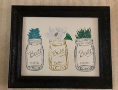 done for my mom for xmas Framed Canvas Prints, Canvas Frame, Canvas Art, Magnolia, Mason Jars, My Arts, Xmas, Artwork, Design