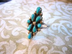 Vintage Sterling Silver Petit Point Turquoise by charmingellie, $46.00