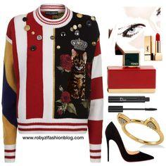 Feline. Dolce & Gabbana Patchwork Sweater by robertazl on Polyvore featuring moda, Dolce&Gabbana, Christian Louboutin, Allurez, Yves Saint Laurent, Fendi and Christian Dior new post now on www.robyzlfashionblog.com