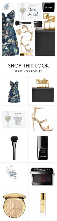 """""""You're Invited: Celebrity Wedding"""" by pastelneon ❤ liked on Polyvore featuring Zimmermann, Alexander McQueen, Liliana, Gucci, le top, Topshop, Bobbi Brown Cosmetics, Christian Dior, Guerlain and gold"""