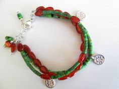 Natural Green Turquoise Heishi Carnelian Flower Charms 925 Silver Artisan Triple Strand Bracelet  Designed by Blue Tortue