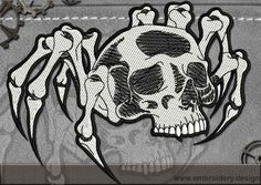 Biker patch Spider Skull embroidery design – EmbroStitch
