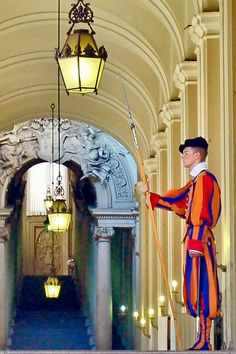 Swiss Guard at the Prefettura Pontificia in Vatican City , Italy via flickr