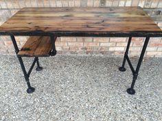 """Reclaimed Wood Desk Table - Solid Oak W/ 28"""" Black Iron Pipe legs. by BeRusticCo on Etsy https://www.etsy.com/listing/230410555/reclaimed-wood-desk-table-solid-oak-w-28"""