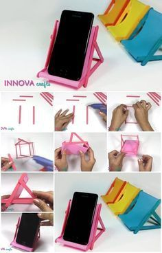 DIY Phone Stand - Iphone Stand - Ideas of Iphone Stand - Reposeras para celulares Más Diy Phone Stand, Desk Phone Holder, Iphone Holder, Ice Cream Stick Craft, Make Ice Cream, Diy Popsicle Stick Crafts, Popsicle Sticks, Glace Diy, Support Telephone