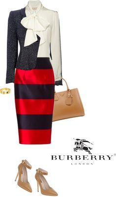 """Skirt by BURBERRY"" by fashionmonkey1 ❤ liked on Polyvore"