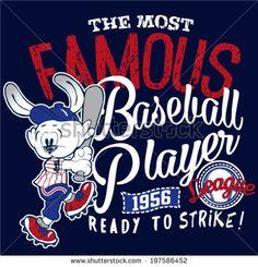 rabbit baseball player cartoon - stock vector