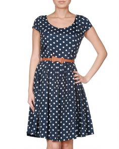 $57 Polkadot Cap Sleeve Dress w/ Belt
