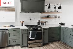 Diy Kitchen Cabinets Before And After Apartment Therapy 45 Trendy Ideas Green Kitchen Cabinets, Diy Kitchen, Kitchen Decor, Kitchen Sink, Boho Kitchen, Kitchen Wood, Dark Cabinets, Kitchen Chairs, Kitchen Ideas