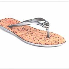 49b43826c746c New Michael Kors Girls Silver Metallic Logo Flip Flops Sandals Shoes Size 13