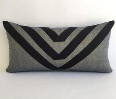 NEW! Geometric Metallic Linen Lumbar Pillow Cover with Grosgrain Ribbon, Lumbar Cushion with Geometric Stripes, Glam Gold and Black Metallic