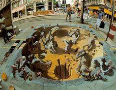 3D Sidewalk Chalk Art