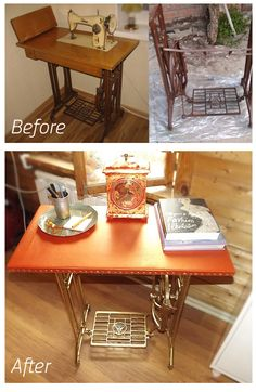 DIY old sewing machine table make over