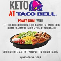 KETO AT TACO BELL So your heading to Taco Bell and wondering what you can order to keep it keto? . This is what you do. . ORDER A power…