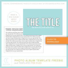 Free 6 x 4 Simple Album Template – CZ Design Digital Photo Album, Project Life Freebies, Travel Album, Photoshop Tutorial, Photoshop Actions, Mini Albums, Digital Scrapbooking, About Me Blog, Templates