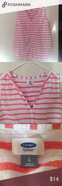 Sleeveless top Old Navy red and white striped linen button down tunic. Old Navy Tops Tunics