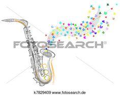 skizze, von, dass, saxophon Große Clipart Grafik anschauen
