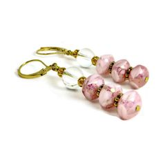 Puffy Square Variegated Pink Czech Glass Beads, Clear Round Glass... ($13) ❤ liked on Polyvore featuring jewelry, earrings, yellow gold dangle earrings, long gold earrings, filigree earrings, glass bead earrings and gold bead earrings