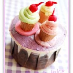 Miniature fondant desserts on cupcakes! Check out the other sets! Replicas of baskin robbin ice cream, oreo cheesecakes & chocolate cake.