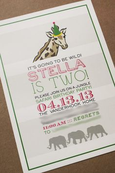 Cute & Girly Safari Birthday Party... but it has a giraffe! Can make boyish!