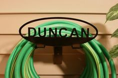 Personalized Garden Hose Rack - Personalized Garden Hose Rack - Custom American-Made Steel with Powder Coated Black Finish - Durable, Strong and Handcrafted - Makes a Perfect Gift Water Hose Holder, Garden Hose Hanger, Aquaponics Kit, Welding Projects, Lawn And Garden, American Made, It Is Finished, Neon Signs, Steel