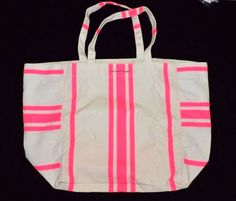VICTORIA'S SECRET White Pink Tote Beach Bag Vacation Purse NEW Canvas Shopper #VictoriasSecret #TotesShoppers
