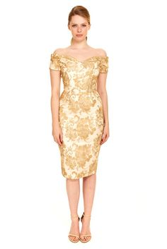 Fatale Gold Baroque Embroidered Pencil Dress