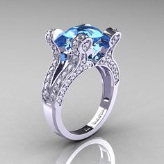 French Vintage 14K White Gold 3.0 CT Aquamarine by artmasters, $1749.00