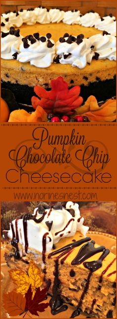Pumpkin Chocolate Chip Cheesecake is a family Thanksgiving tradition at our Nest! It's rich, creamy, chocolate heaven in every bite! It's beyond YUM! It's sinfully delicious!