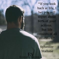 17 Sylvester Stallone Quotes That Will Fire You Up Sylvester Stallone Quotes, Screenwriting, American Actors, Regrets, Looking Back, Inspirational Quotes, Inspire, Fire, Motivation