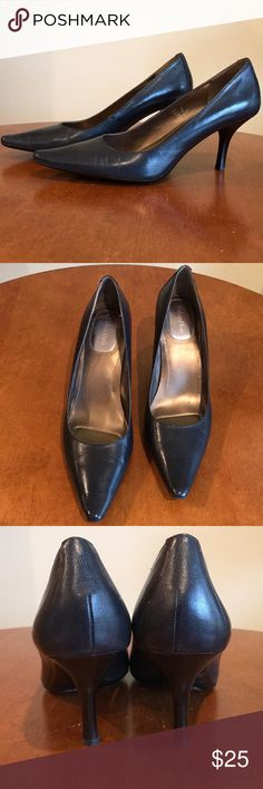 Calvin Klein Navy Blue Pumps Size 9 Calvin Klein pointed toe navy blue pumps. Lightly worn. Gel cushioning makes them extremely comfortable to wear to work. Calvin Klein Shoes Heels
