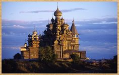 Church of the Transformation: Kizhi Island, Republic of Karelia, Russia. The Church of the Transfiguration is built entirely without nails. dating from the early century, its 22 domes are made from aspen wood on a pine frame The Places Youll Go, Places To See, The Transfiguration, Russian Architecture, Wooden Architecture, Historical Architecture, Frozen In Time, Wtf Fun Facts, Random Facts