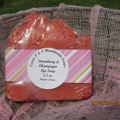 Amazing Strawberry And Champagne Hot Process Lye Soap Bars Lye Soap, Strawberry Champagne, Soap Shop, Distilled Water, Palm Oil, Handmade Soaps, Fragrance Oil, Vitamin E, Coconut Oil