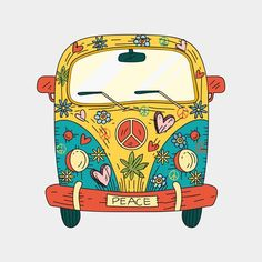 Van Hippie, Hippie Art, Small Canvas, Canvas Art, Van Drawing, Pintura Hippie, Vaporwave, Flower Power, Hippie Painting