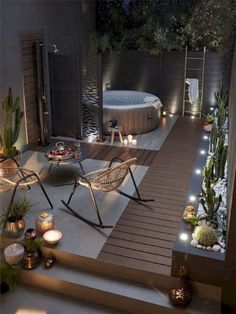 49 ideas outdoor patio seating hot tubs for 2019 Backyard Seating, Pergola Patio, Diy Patio, Backyard Patio, Patio Ideas, Backyard Ideas, Hot Tub Patio, Backyard Landscaping, Outdoor Spaces